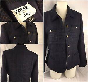 Kasper Blazer Jacket Sz 10 Blue Check 100% Wool 4-Button EUC YGI 57tt