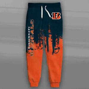 CINCINNATI BENGALS Men's Sweatpants Polyester Sweats Pants S-6XL Football Logo