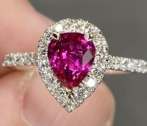 Flawless GIA Unheated 2 Ctw Vivid Red Ruby VVS Diamond Ring Platinum Yellow Gold