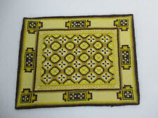 Dollhouse Rug Needlepoint Miniature Hand Sewn Golden Brown Floral Rectangle 1:12