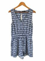 Jeanswest Womens Short Playsuit Size 10 Blue White Scoop Neck Sleeveless Tie
