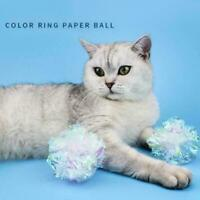 Cat Toys Ball Mylar Crinkle Interactive Colorful Ring Paper Stuff D3E7 Pet P0B0
