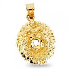 Lion Head Charm 14k Yellow Gold Leo Pendant Zodiac Sign Diamond Cut Solid Fancy