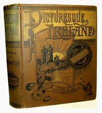 IRISH IRELAND Illustrated History Travel 1884 DUBLIN Castles Antique MAPS Celtic