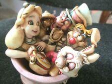 Harmony Kingdom Alice in Wonderland Teacup Twirl w/Cheshire Cat Disney 2001