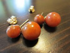 14K Yellow Gold Designer Signed Old China Natural Carnelian Stud/Drop Earrings4g
