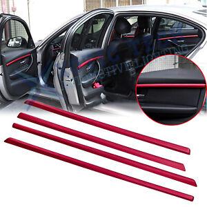 4x Red Interior Door Molding Strip Decor Trim For BMW 3 Series F30 F31 2013-2018