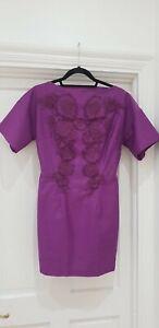 H&M Conscious Purple Floral Appliqué Organic Cotton Dress Size UK 8 EUR 36