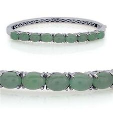 Emerald Quartz Bangle Platinum Overlay S/Silver (Size 65x55mm/ Medium) 11.500 Ct