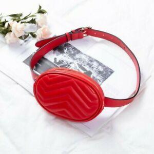 Trendy PU Red Waist Bag Purse