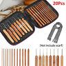 20*Bamboo Crochet Hook Handle DIY Wooden knitting needle with case 1-10mm G3U