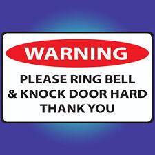 Ring Bell & Knock Door Hard - Doorbell Sign Door Sign Front Door Sticker A34