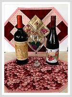 Quilted hand made place mats Wine Themed Grapes reversible wedding gift idea