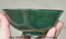 """5.2"""" Chinese Natural Green Agate Carnelian Carved Dynasty Palace Bowl Bowls"""