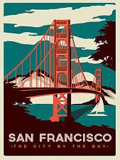San Francisco, Retro Metal Fridge Magnet, 100mm x 75mm Novelty Gift