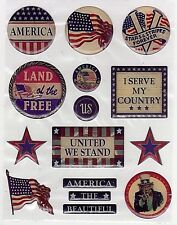 K & Co.Clearly Yours Epoxy Stickers *PATRIOTIC SAYINGS*  Scrapbooking/Cardmaking