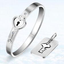 Heart Love Lock Bracelet With Key Pendant Necklace Bangle Couple Set Jewelry Set