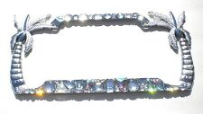 Palm Trees Chunky Mix AB and Clear Crystal Rhinestone License Plate Frame Bling