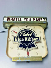 Pabst beer sign vintage metal reverse painted glass ROG lighted bar clock light