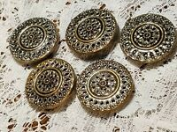 5 Vintage Mirror Back Twinkle Lacy Filigree Gold Tone Metal Button Lot 271B