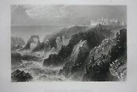 SLAINS CASTLE, ABERDEENSHIRE, original antique Victorian print, Finden, c.1841