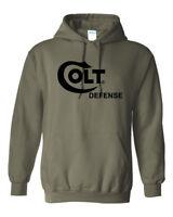 Colt Defense Black Logo Hoodie Sweatshirt Pro Gun Brand 2nd Amendment Rifle New