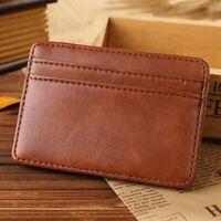 Business Leather Clip Coin Pocket Coin Purse Card Holder Men Wallet Money Bag
