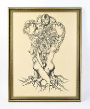 1969 Erotic Surrealist Etching Nudes Amongst Hidden Imagery signed Darow