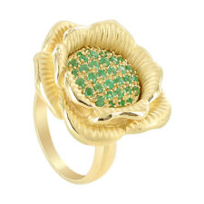 Gold over Sterling Silver Emerald Gemstone Vermeil Flower Ring Size 8