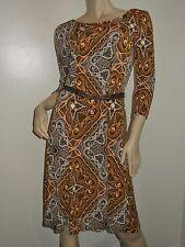 ELLEN TRACY Womens Dress MEDIUM Amber Combo NWT $129 Paisley