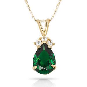 3.70 CT  Emerald Pear Shape 4 Stone Gemstone Pendant & Necklace 14K Yellow Gold