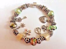 "European Style Charm Bracelet with Murano Glass Beads,Barrel Clasp, 8.75""Long"