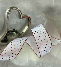 CHRISTMAS Mini Polka Dots Shimmery Red Dots on white - Luxury Wire Edged Ribbon