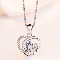 925 Silber Luxus Kristall Herz Anhänger Halskette Exquisite vRylu eNwrg flYfE