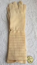 Vintage Long Ladies Gloves NWT New Ivory Japan Made 100% Worsted Wool Size L