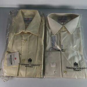 Job-lot 2X Thresher & Glenny Mens Shirt Long Sleeve Yellow/Beige Cotton Sz 15-38