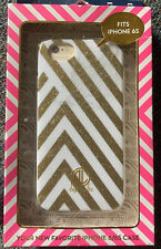 Nib Dabney Lee iphone 6/6s Phone Hardshell Case White Gold Glitter Stripe J4