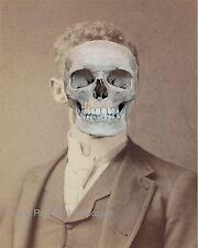 Victorian Skeleton Man Art Print 8 x 10 - Altered Art - Goth Horror Surreal