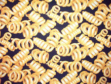 CURLY FRENCH FRY FRIES FOOD BLACK FABRIC FQ OOP