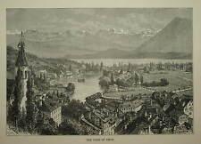 Svizzera. il LAGO DI THUN. inciso vista intorno al 1880