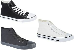 Mens New Canvas Baseball Boots Plimsolls in Black Navy White 6 7 8 9 10 11 12