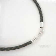 Mens Womens Leather cord Necklace 2 mm Black Round Choker Silver clusp B8