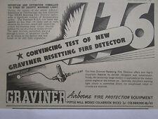 11/1948 PUB GRAVINER RESETTING FIRE DETECTOR AIRCRAFT WARNING LIGHT ORIGINAL AD