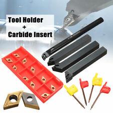 4Set 12mm Shank Lathe Turning Tool Holder Boring Bar +10x Carbide Insert Blades