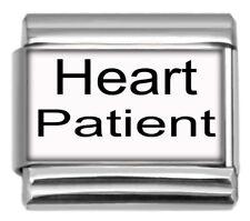 9mm Italian Charm Heart Patient Medical Alert Stainless Steel Modular Link