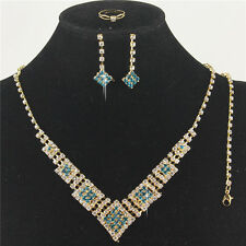 Blue Austrian Crystal Rhinestone Necklace Earrings Bracelet Ring Set Squares