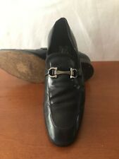 Pre Owned Salvatore Ferragamo Navy Blue Leather Loafers 9.5EE