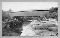 Rockville Indiana~Silver Border~Covered Bridge @ Turkey Run State Park 1940s B&W