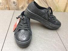 XTI TERRITORY BLACK GLITTER PLATFORM/CHUNKY SOLE LACE UP PUMP/SNEAKER UK 31/2