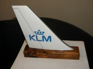 KLM AIRLINE WOOD DESK MODEL AIRPLANE TAIL PILOT CHRISTMAS FATHERS MOMS' DAY GIFT